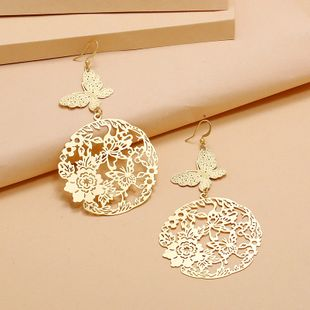 Fashion retro personality trend hollow flower butterfly earrings  simple exaggerated long section  thin matte earrings nihaojewelry wholesale NHKQ233006's discount tags
