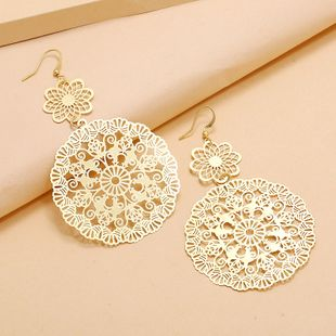 Fashion  simple personality exaggerated atmospheric geometric earrings  retro trend hollow flower matte earrings nihaojewelry wholesale NHKQ233009's discount tags