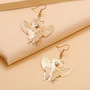 fashion new punk hollow metal butterfly diamond flower earrings simple personality exaggerated wild exquisite earrings wholesale NHKQ233014's discount tags