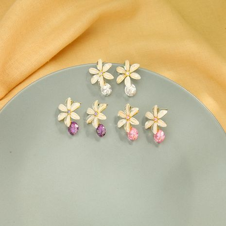 fashion s925 silver  temperament diamonds wild zircon  flower  copper earrings nihaojewelry wholesale   NHQD233015's discount tags