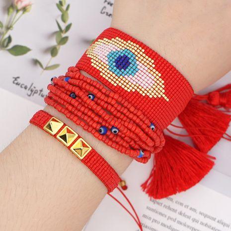 Borla de múltiples capas de moda Miyuki cuentas de arroz ojos tejidos pulsera hecha a mano conjunto de joyas nihaojewelry al por mayor NHGW233030's discount tags