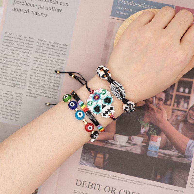 fashion new   natural shell Miyuki rice beads woven skull head ethnic style handmade jewelry bracelet nihaojewelry wholesale  NHGW233034