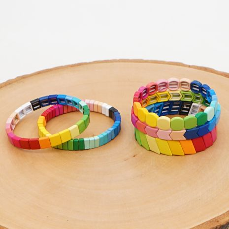 fashion new rainbow models enamel alloy couple bracelet female jewelry nihaojewelry wholesale  NHGW233041's discount tags