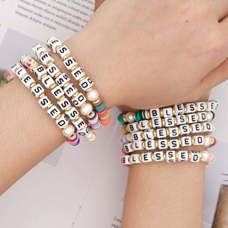 fashion  retro trendy   natural beautiful pearl color soft ceramic letters bracelet nihaojewelry wholesale NHGW233045's discount tags