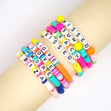 fashion trendy  vacation beach style color soft ceramic letters bracelet female jewelry nihaojewelry wholesale NHGW233048's discount tags
