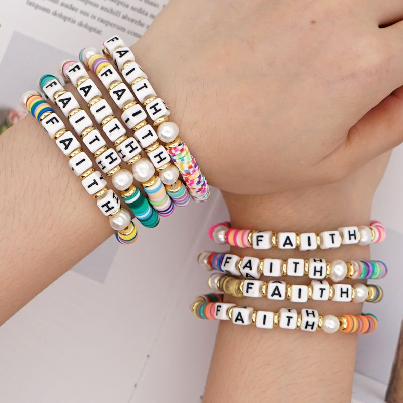 retro  letter holiday beach style natural beautiful pearl color soft ceramic bracelet nihaojewelry wholesale NHGW233049