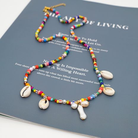 Bohemian Beach Style Simple Rainbow Bead Shell Pearls Natural Freshwater Pearl Necklace NHGW233051's discount tags