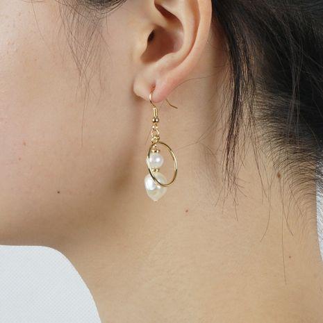 mode exagéré grand cercle boucles d'oreilles femmes simple Baroque naturel perle d'eau douce bijoux faits main NHGW233056's discount tags
