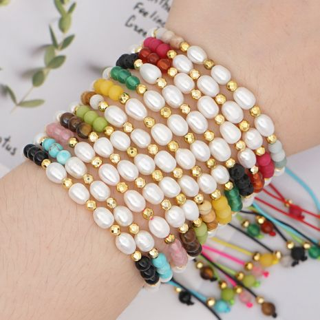 fashion creative simple friendship rope bracelet female natural freshwater pearl semi precious stone handmade jewelry nihaojewelry wholesale  NHGW233057's discount tags