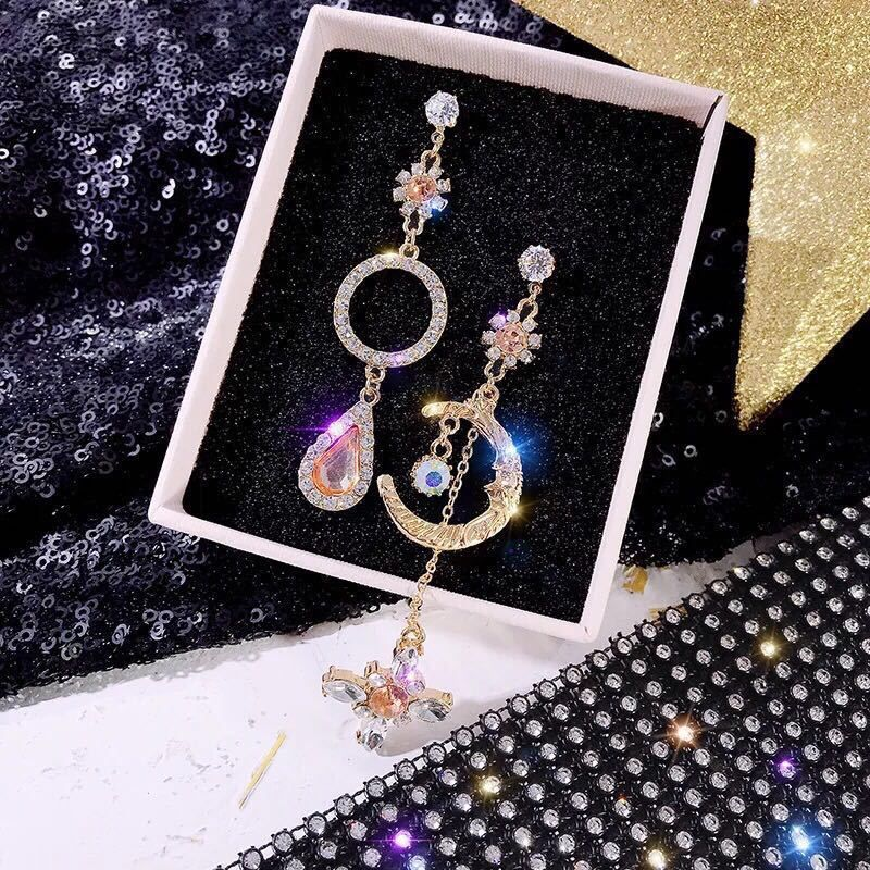 Dreamy orange asymmetrical sparkling moon earrings  long temperament retro baroque diamond stud earrings wholesale NHXI233061