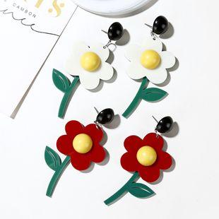 new Korea flower earrings lovely green leaf flower contrast color acrylic earrings long earrings women NHXI233092's discount tags