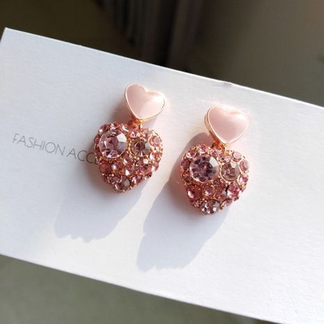 Korean pink love  new  fashion temperament e heart-shaped earrings nihaojewelry wholesale NHXI233094's discount tags