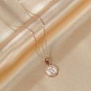 South Koreas new fashion geometric ornaments round motherofpearl  titanium steel necklace wholesale NHOP233103