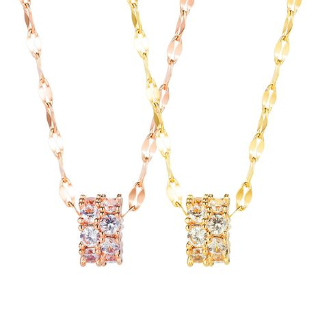 Korean fashion new  popular double-row diamond clavicle temperament wild popular  copper necklace  nihaojewelry wholesale NHOP233109's discount tags