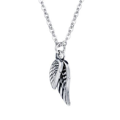 Venta caliente hombres collar de plumas de hip-hop tendencia de acero de titanio alas de ángel collar al por mayor NHOP233115's discount tags