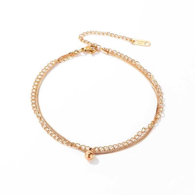 korean  hot selling fashion  titanium steel anklet simple round bead pendant simple anklet  wholesale NHOP233116