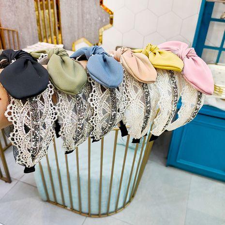Diadema de oreja de conejo coreano de alta gama de tela de encaje de gasa de seda diadema de horquilla accesorios para el cabello para mujeres NHUX233156's discount tags