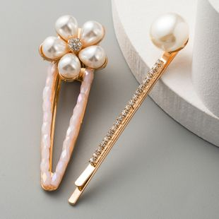 Korean sweet imitation pearl flower hairpin fashion wild hairpin female small fresh suit new word clip NHLN233159's discount tags