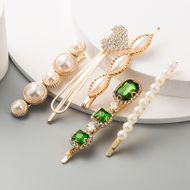 sweet gem geometric hair accessories ladies suit temperament imitation pearl 5-piece hair clip NHLN233171