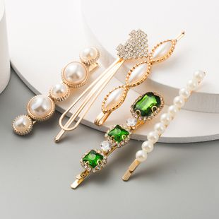 sweet gem geometric hair accessories ladies suit temperament imitation pearl 5-piece hair clip NHLN233171's discount tags