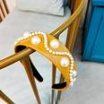 NHUX796713-Earth-yellow-leather-pearl-flat-headband