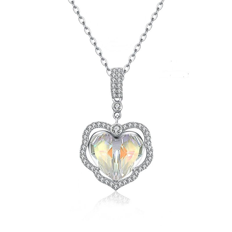 fashion new  crystals  S925 sterling silver heart  pendant necklace nihaojewelry wholesale  NHKL233178