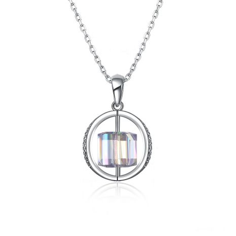 fashion new  S925 Sterling Silver Crystal Geometric Rotating Pendant Necklace  nihaojewelry wholesale NHKL233179's discount tags