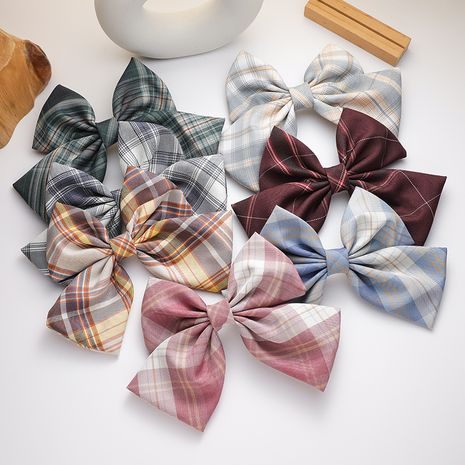 uniform color plaid bow hairpin girl sweet and wild college wind hair accessories bow hair clips NHMS232875's discount tags