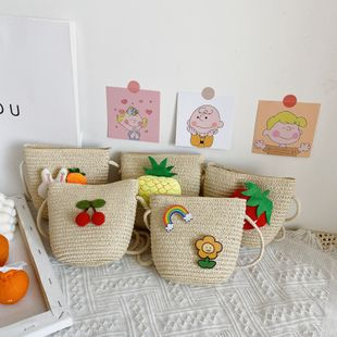 Summer children's messenger small  straw bag cute   woven beach bag wholesale  NHGA239971's discount tags