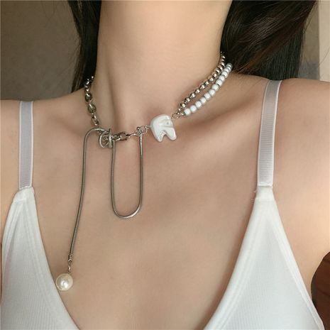 pearl metal round beads double long tassel DIY matching necklace wholesale nihaojewelry NHYQ239975's discount tags