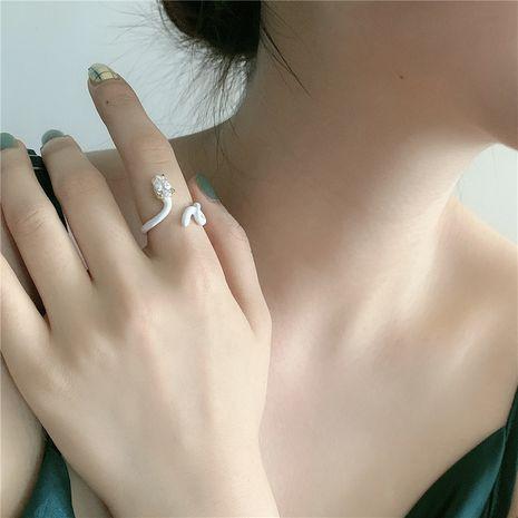 Nouvelle bague coréenne en forme de serpent époxy ouverture zircon bague de mode réglable en gros nihaojewelry NHYQ239976's discount tags