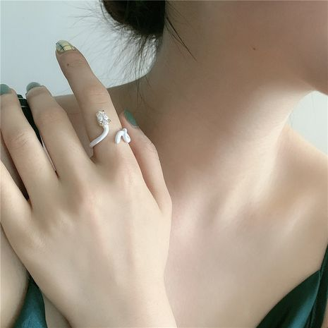 Korea's new ring epoxy snake-shaped opening zircon adjustable fashion finger ring wholesale nihaojewelry NHYQ239976's discount tags