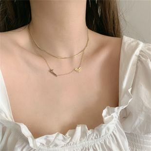 Korean titanium steel gold-plated double layered with love letters short clavicle chain necklace wholesale nihaojewelry NHYQ239982's discount tags