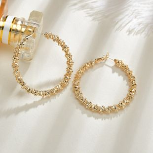 retro  gold-plated minimalist gold  metal big circle earrings wholesale   NHBQ239985's discount tags