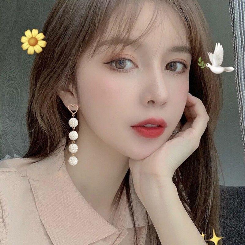 925 silver needle Korean long pearl  heart-shaped earrings  wholesale  NHBQ239987