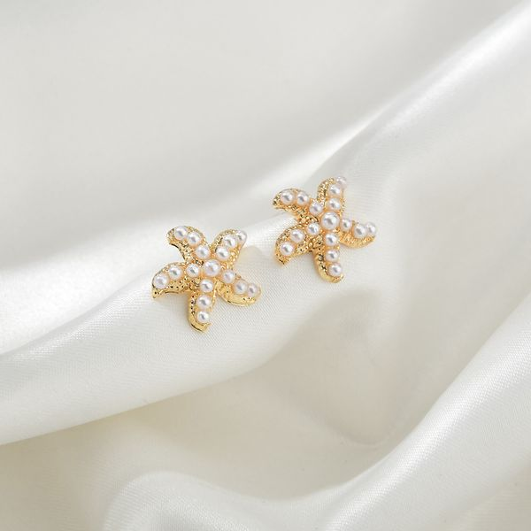 Korea small pearl simple and versatile starfish shell earrings wholesale nihaojewelry NHBQ239988