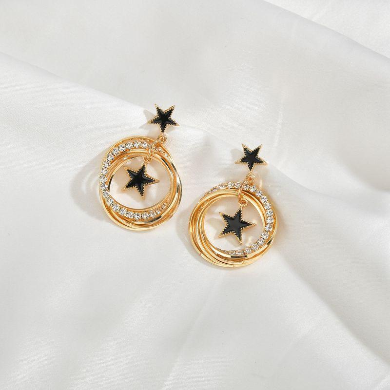 circle five-pointed star earrings silver needle earrings wholesale nihaojewelry NHBQ239989