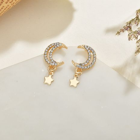 Creative  super flashing stars  moon small earrings wholesale NHBQ239990's discount tags