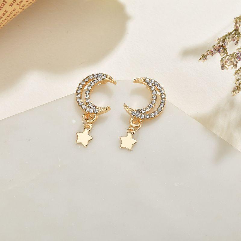 Creative  super flashing stars  moon small earrings wholesale NHBQ239990