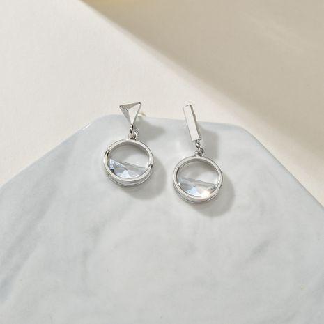 asymmetric hollow round earrings  Korean  wild S925 silver needle earrings wholesale NHBQ239993's discount tags