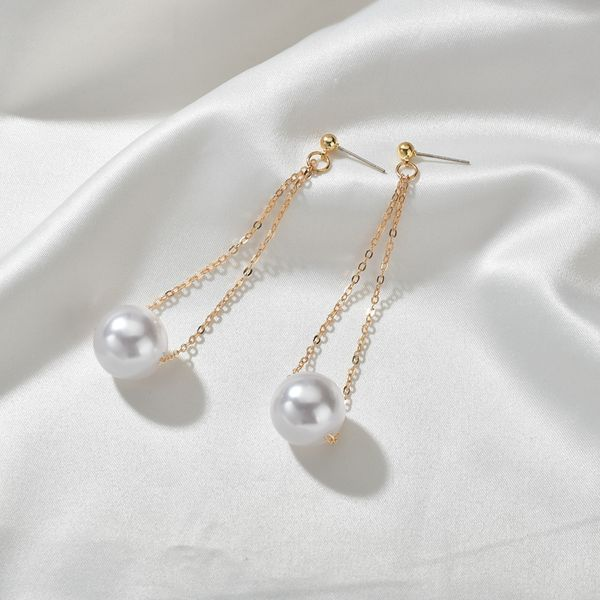 Simple  new long pearl design earrings wholesale NHBQ239994