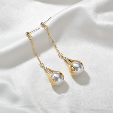 new fashion  long tassel water drop pearl trendy  earrings wholesale  NHBQ239995's discount tags