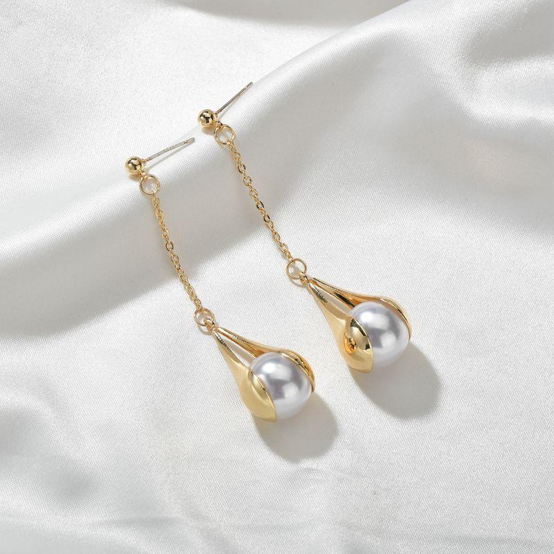 new fashion  long tassel water drop pearl trendy  earrings wholesale  NHBQ239995