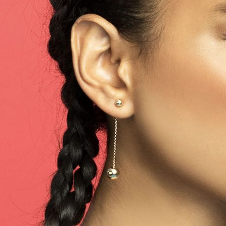 Golden round bead  Korean  simple  peas  long tassel earrings wholesale  NHLL239997's discount tags