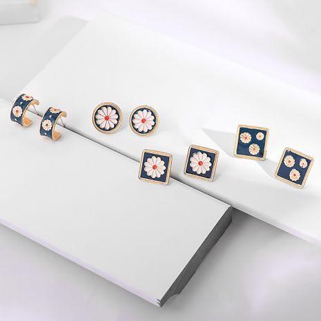 Korean retro court small daisy flower classical enamel embossed flower earrings wholesale nihaojewelry NHLL240003's discount tags