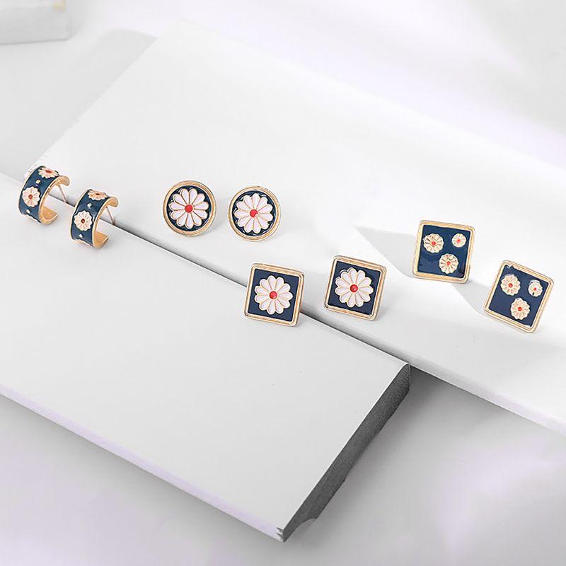 Korean retro court small daisy flower classical enamel embossed flower earrings wholesale nihaojewelry NHLL240003