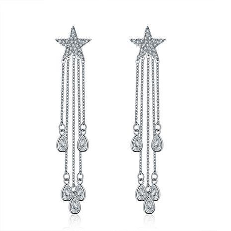 Korean fashion new five-pointed star tassel zircon sterling silver needle earrings wholesale nihaojewelry NHLJ240005's discount tags