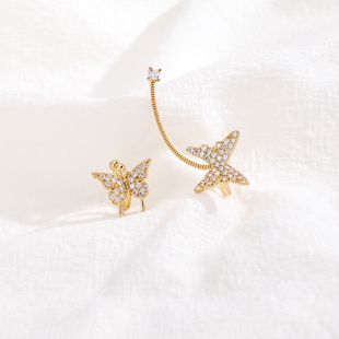 fashion zircon butterfly  luxury fairy asymmetric earrings wholesale  NHLL240019's discount tags