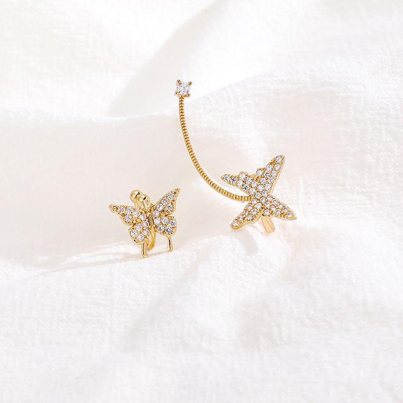 fashion zircon butterfly  luxury fairy asymmetric earrings wholesale  NHLL240019