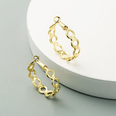 Korean new C-shaped circle gold  retro earrings wholesale  NHLN240216's discount tags